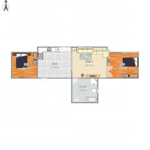 银都五村2室1厅1卫1厨95.00㎡户型图