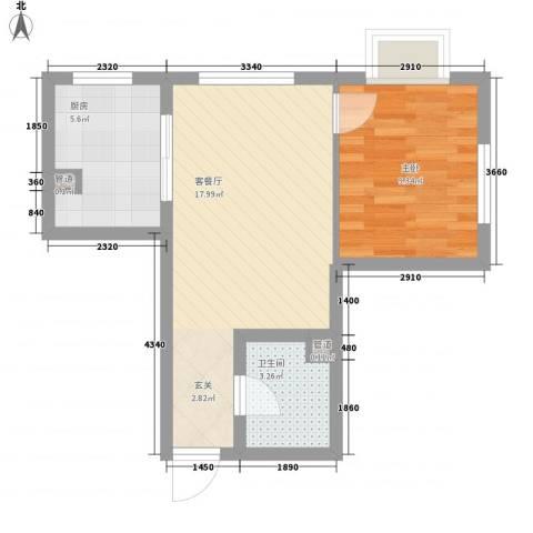 新天地购物城1室1厅1卫1厨52.00㎡户型图