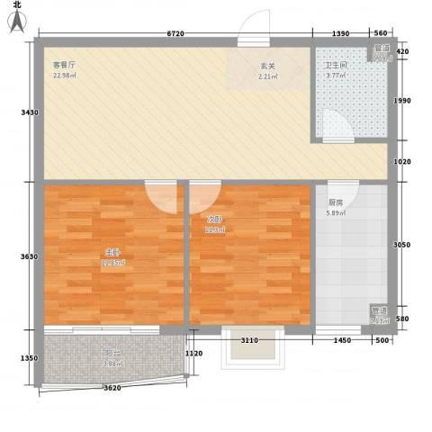 新天地购物城2室1厅1卫1厨82.00㎡户型图