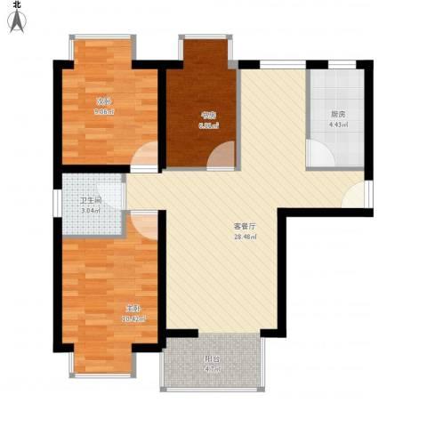 湾仔城3室1厅1卫1厨88.00㎡户型图