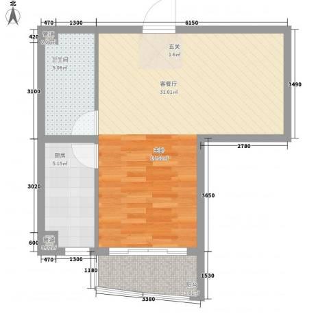 新天地购物城1厅1卫1厨64.00㎡户型图