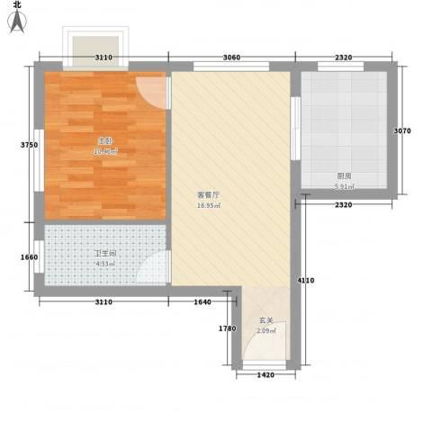新天地购物城1室1厅1卫1厨54.00㎡户型图