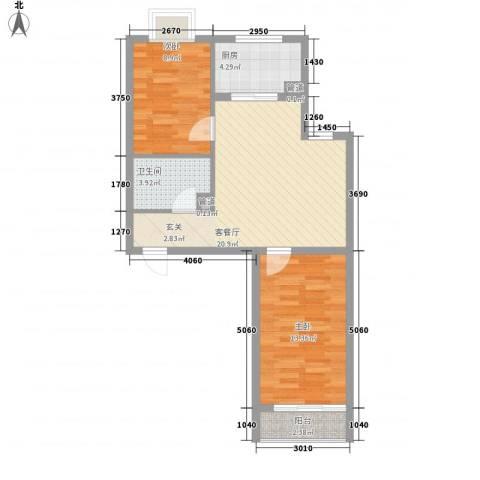 新天地购物城2室1厅1卫1厨77.00㎡户型图