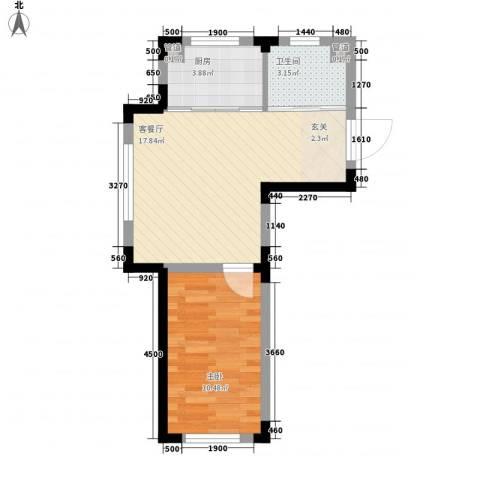 丹麦小镇1室1厅1卫1厨51.00㎡户型图