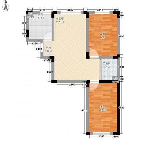 丹麦小镇2室1厅1卫1厨66.00㎡户型图