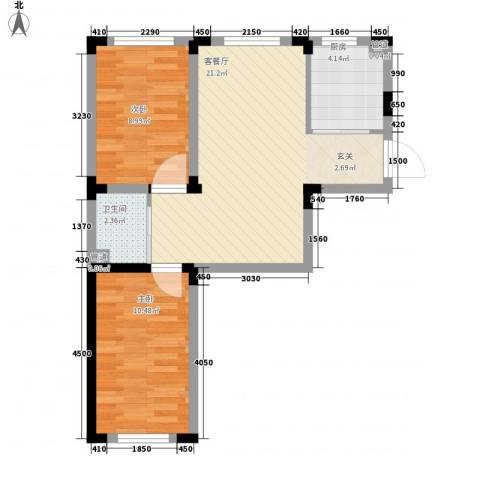 丹麦小镇2室1厅1卫1厨68.00㎡户型图