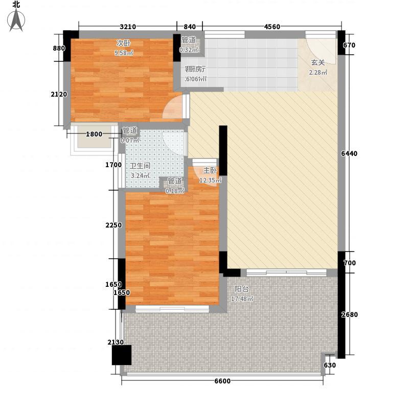 珊瑚宫殿87.42㎡珊瑚宫殿户型图A2户型平面图2室1厅1卫1厨户型2室1厅1卫1厨