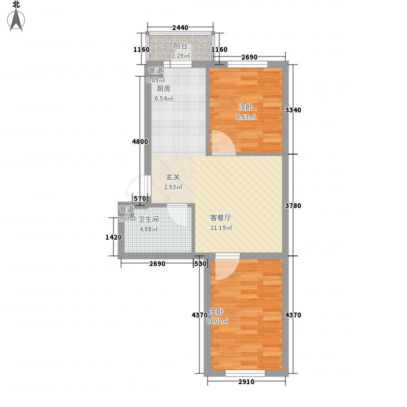 亿达帝景67.00㎡亿达帝景户型图多层C户型2室1厅1卫1厨户型2室1厅1卫1厨