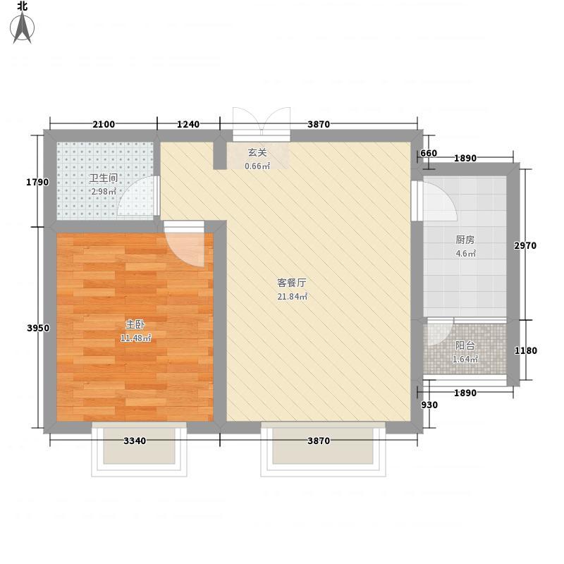 众美城廊桥四季C区户型图E4户型 1室2厅1卫1厨