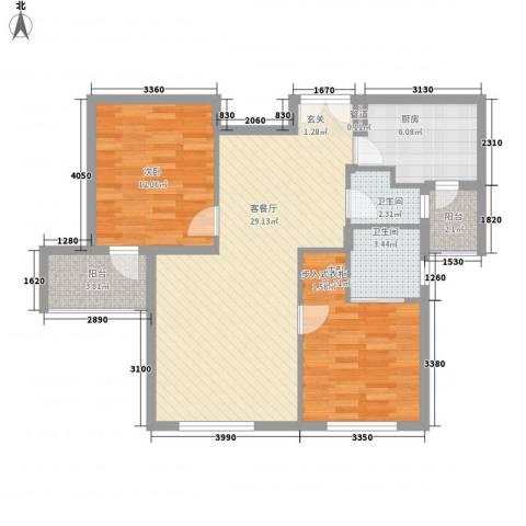 华茂品江2室1厅2卫1厨90.00㎡户型图