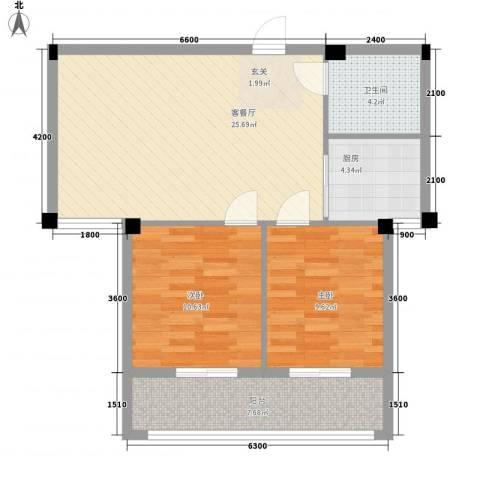 水岸书香2室1厅1卫1厨87.00㎡户型图