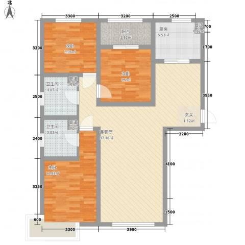 京能海与城3室1厅2卫1厨86.36㎡户型图