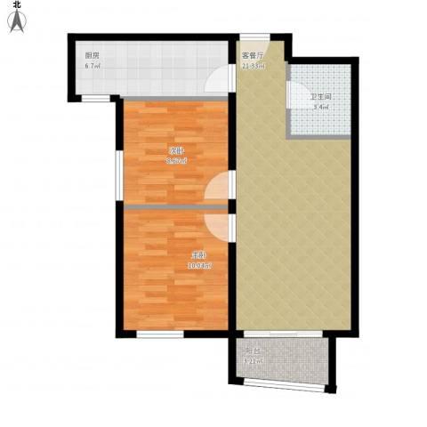 湾仔城2室1厅1卫1厨75.00㎡户型图