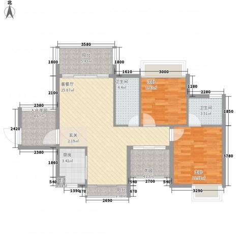 德盛南岛康城2室1厅2卫1厨91.00㎡户型图