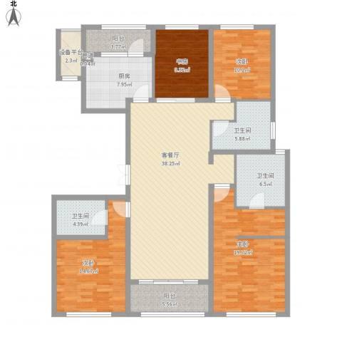 九龙仓国宾1号国宾山4室1厅3卫1厨184.00㎡户型图