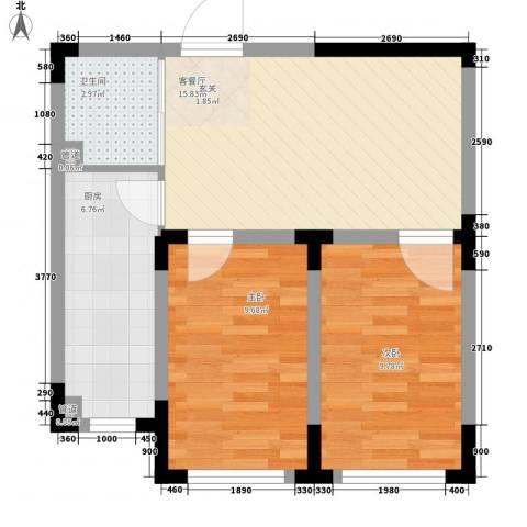 丹麦小镇2室1厅1卫1厨65.00㎡户型图