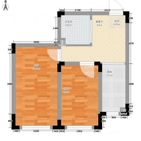 丹麦小镇2室1厅1卫1厨60.00㎡户型图