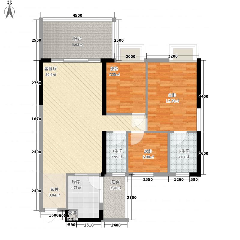 富丽居3号楼08户型3室2厅2卫1厨