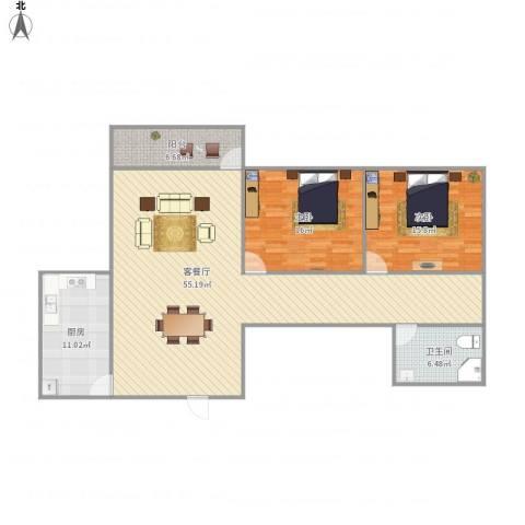 南岸晶都花园2室1厅1卫1厨148.00㎡户型图
