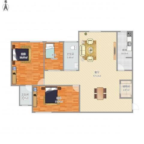 五塘和园3室1厅2卫1厨163.00㎡户型图