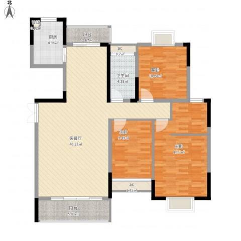 红岭花园3室1厅1卫1厨140.00㎡户型图