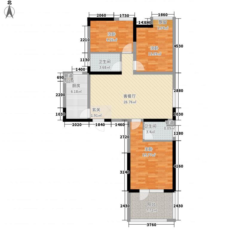 御才名仕12.10㎡1号楼1-7户型3室3厅2卫1厨