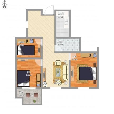 幸福城居住区经济适用房3室1厅1卫1厨92.00㎡户型图