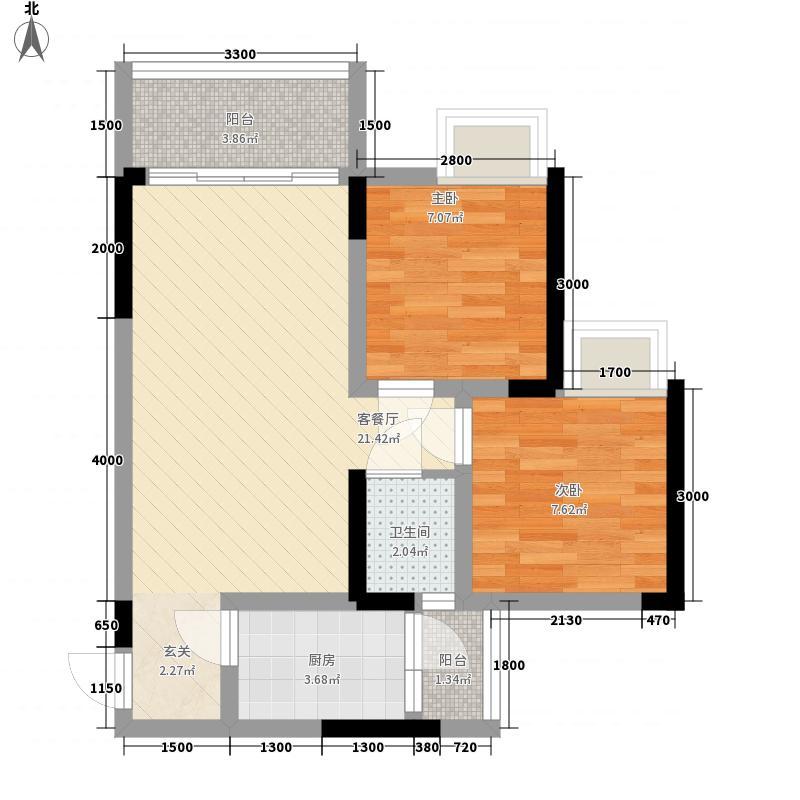 利丰印象望江苑二期52.63㎡二期4幢标准层5户型2室2厅1卫1厨