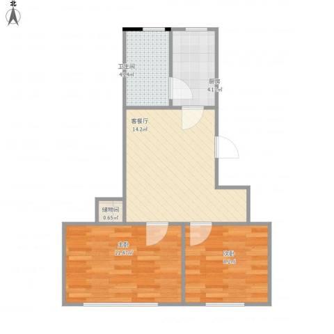 共和新路4703弄小区2室1厅1卫1厨58.00㎡户型图