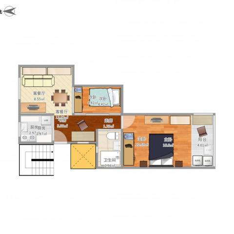 开鲁四村2室1厅1卫1厨56.00㎡户型图