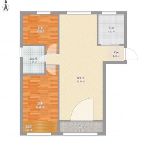 万方家园2室1厅1卫1厨92.00㎡户型图