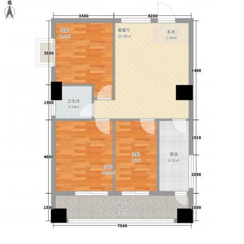 弘林大厦3室1厅1卫1厨71.21㎡户型图