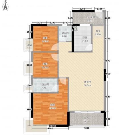 康和花园3室1厅2卫1厨92.36㎡户型图