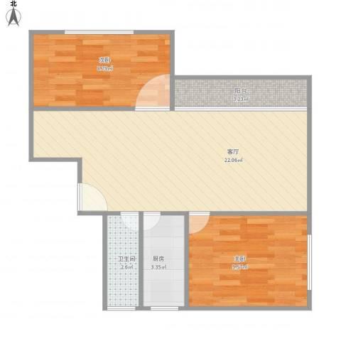 龙珠花园2室1厅1卫1厨68.00㎡户型图