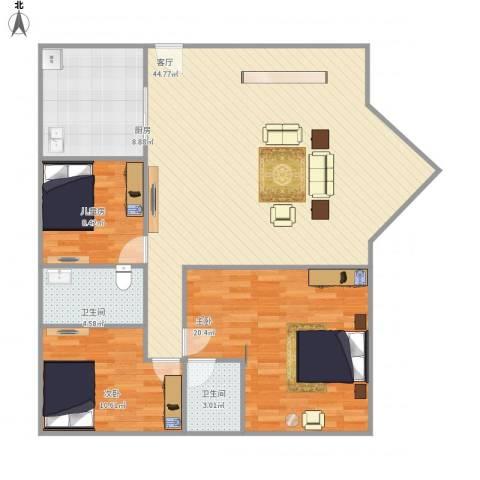 东江花园3室1厅2卫1厨134.00㎡户型图