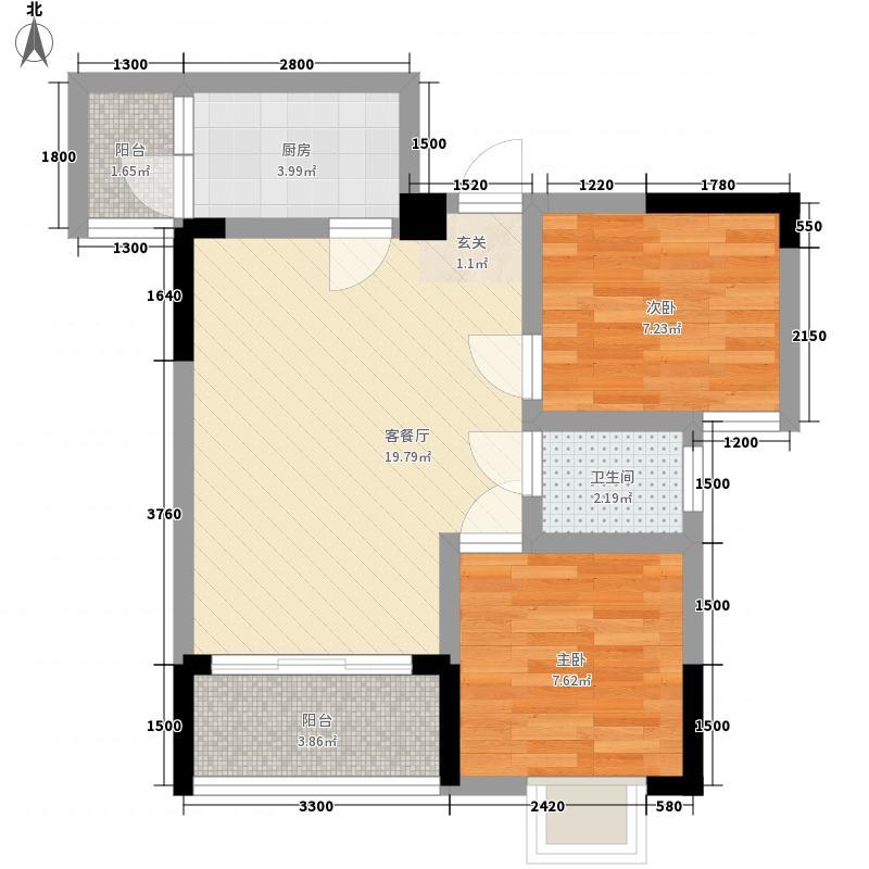 利丰印象望江苑二期52.60㎡二期4幢标准层2户型2室2厅1卫1厨