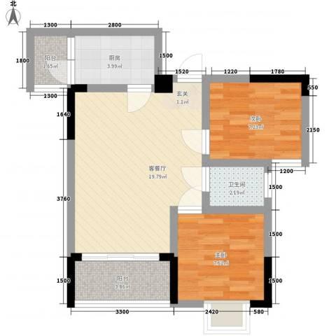 利丰印象望江苑二期2室1厅1卫1厨53.00㎡户型图