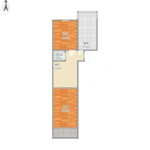 历园新村2室1厅1卫1厨53.88㎡户型图