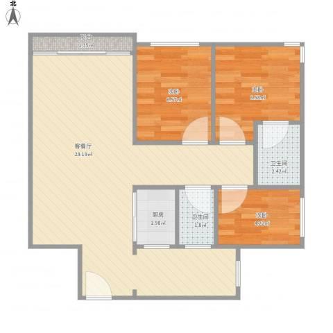 华润广场2单元1502房3室1厅2卫1厨74.00㎡户型图