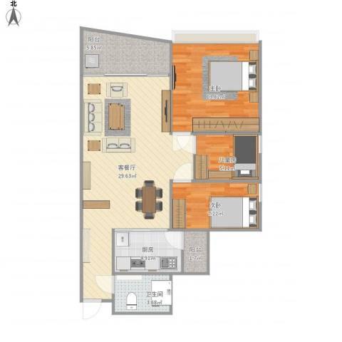 旭景家园3室1厅1卫1厨97.00㎡户型图