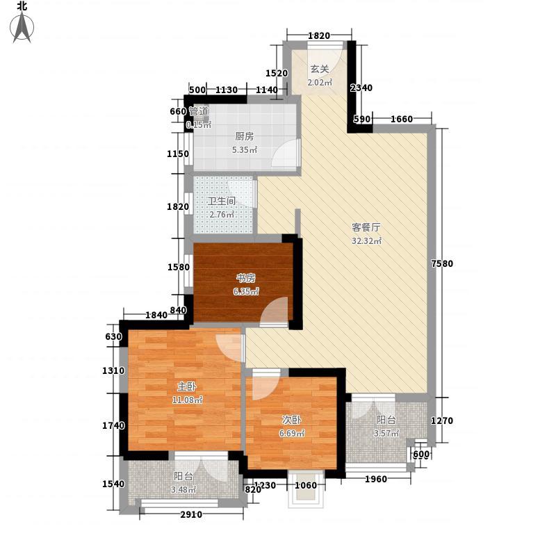 百步亭・金桥汇8.00㎡住宅B2户型3室2厅1卫1厨