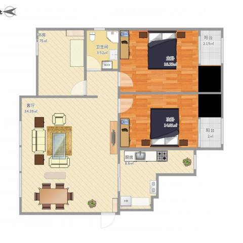 西吴御龙庭3室1厅1卫1厨119.00㎡户型图