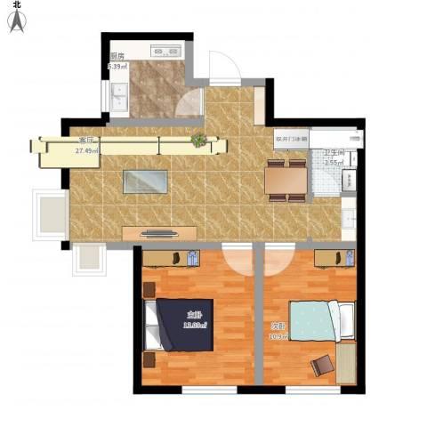 融侨观邸2室1厅1卫1厨84.00㎡户型图