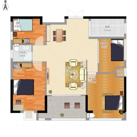 ECO城2室1厅1卫1厨122.00㎡户型图