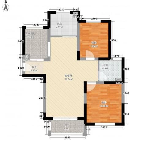 溪湖春晓2室1厅1卫1厨88.00㎡户型图