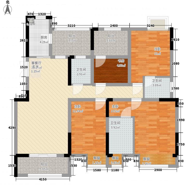 鸥鹏首府十一栋一期8号楼标准层B8户型3室2厅2卫1厨