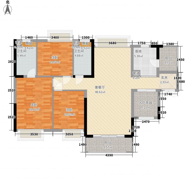 珑・翠134.00㎡17/18/19栋02户型3室2厅2卫1厨