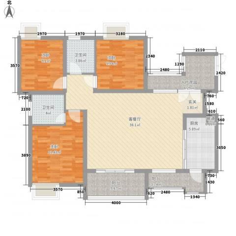 协信彩云湖3室1厅2卫1厨138.00㎡户型图