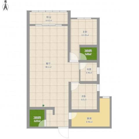 西延小区3室1厅2卫1厨133.00㎡户型图