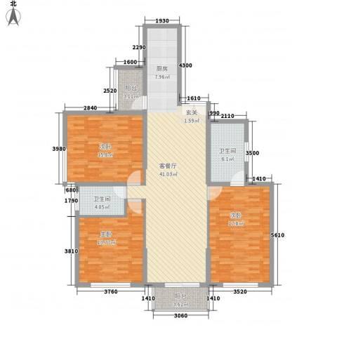 东方剑桥3室1厅2卫0厨148.00㎡户型图
